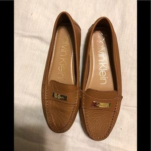 Calvin Klein leather brown moccasins size 8.5